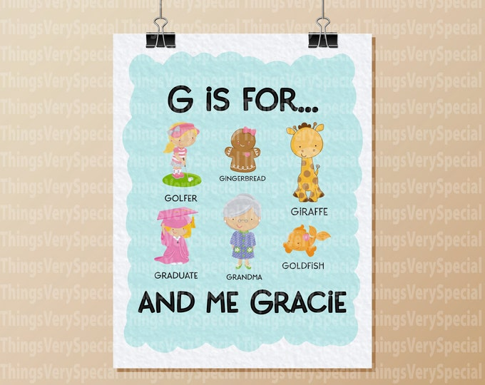 Alphabet Print, Children's Room Art Prints, for girls whose name starts with G. Alphabet learning prints. 09262019c