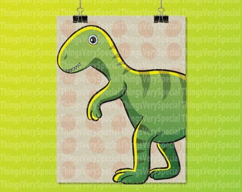 "Dinosaur Art Print, Children's Room Art Prints, T-Rex Dinosaur Art Print. 8.5"" x 11"" Art Print for Children's Room. 09242019b"
