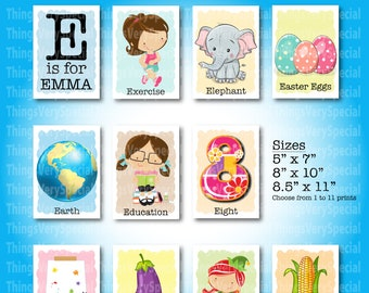 Children's Room Art Prints, for girls whose name starts with E. Alphabet learning prints. 09182019a