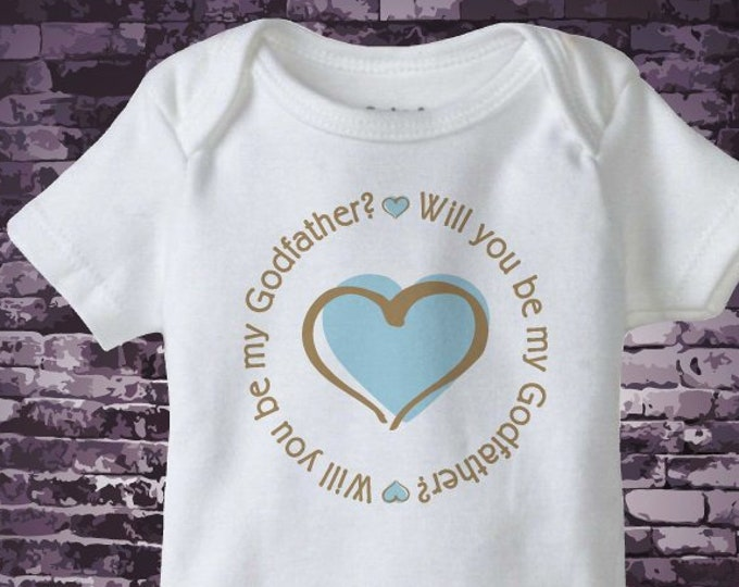 Boy's Will You Be My Godfather with Blue Heart Onesie bodysuit 10162018a