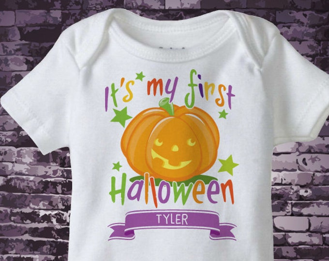 First Halloween Onesie Bodysuit outfit with cute smiling pumpkin jack-o-lantern, Personalized Baby's first halloween | 10082018b