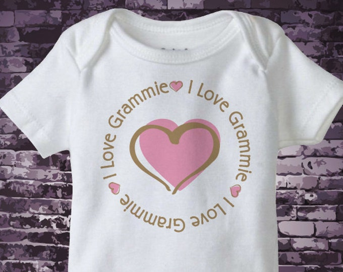 Girl's Personalized I Love My Grammie Onesie with Pink Heart 06052018a