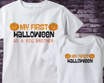 Halloween Big Brother Outfit set - Matching Sibling Set of 2 - Kids Matching Outfits - My First Halloween 09212018b