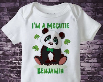 St Patrick's Day Onesie Bodysuit | Personalized I'm a McCutie Panda Bear St Patricks day outfit top | 02172017b
