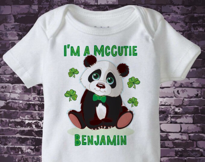 St Patrick's Day Onesie Bodysuit | Personalized I'm a McCutie Panda Bear St Patricks day outfit top | 02172017b
