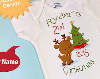 Baby gift - Personalized 2nd Christmas Outfit, Second Christmas Shirt, Personalized 2nd Christmas T-Shirt or Onesie, Reindeer 11182015b