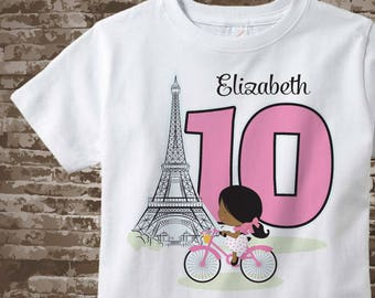 Paris Birthday Shirt for tenth Birthday, Pink 10 Birthday Shirt, Personalized Girls Birthday Shirt, Tee for dark skin child 12122017a