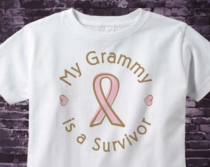 Girl's Personalized My Grammy is a survivor of Breast Cancer tee shirt with Pink Ribbon 10032018a