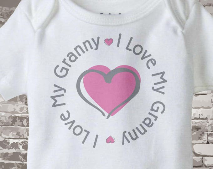 Personalized I Love My Grandmother or Granny with Darker Pink Heart Tee Shirt or Onesie 09222014f