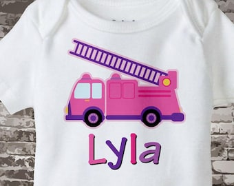 Girly Pink and Purple Fire Truck Shirt or Onesie Personalized with childs name daughter of a Fireman Shirt 03052012a