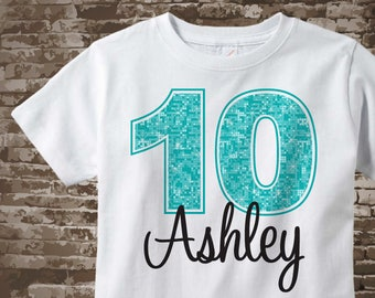 Tenth Birthday Shirt, Turquoise 10 Birthday Shirt, Personalized Girls Birthday Light Teal Age and Name Tee or Infant Onesie 12052017a