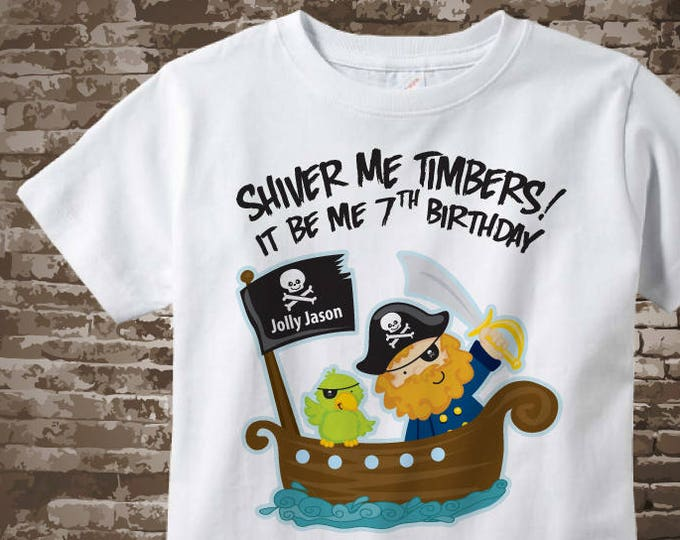 Seventh Birthday Pirate shirt - Pirate 7th birthday shirt - Gift for 7 year old boy - Pirate Theme party outfit - Birthday gift 01132018az