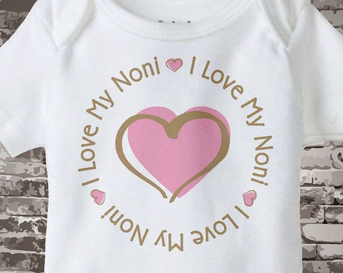 Girl's Personalized I Love My Noni Shirt or Onesie with Pink Heart 06242014e
