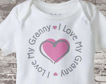 Personalized I Love My Grandma or Granny with Pink Heart Tee Shirt or Onesie 09222014f