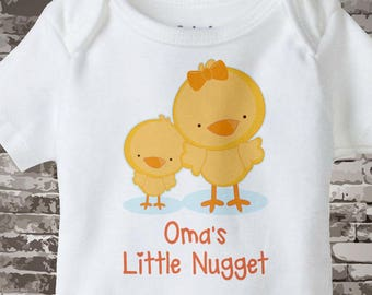 Oma's Little Nugget, Cute little chicken nugget Onesie Bodysuit or Tee Shirt, Says Oma's Little Nugget. 04252017c