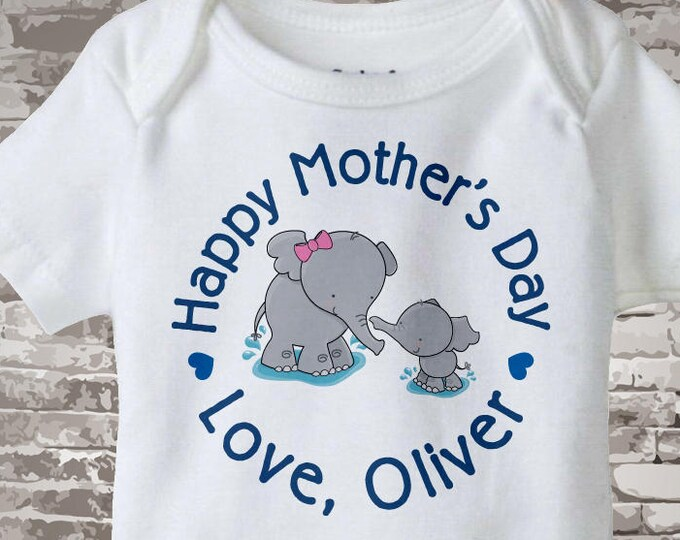 Mother's Day bodysuit Onesie,  Personalized Mothers Day Onesie or Tee shirt with Elephants, New Mom Gift 04252014e