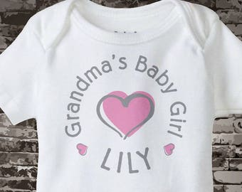 Girl's Personalized Grandma's Baby Girl with Pink Heart Onesie or Tee Shirt 04162015g