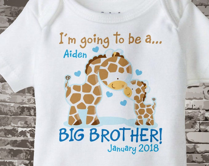 Personalized I'm Going to Be A Big Brother Giraffe Onesie or shirt with name and due date with Little Baby 12072012b1