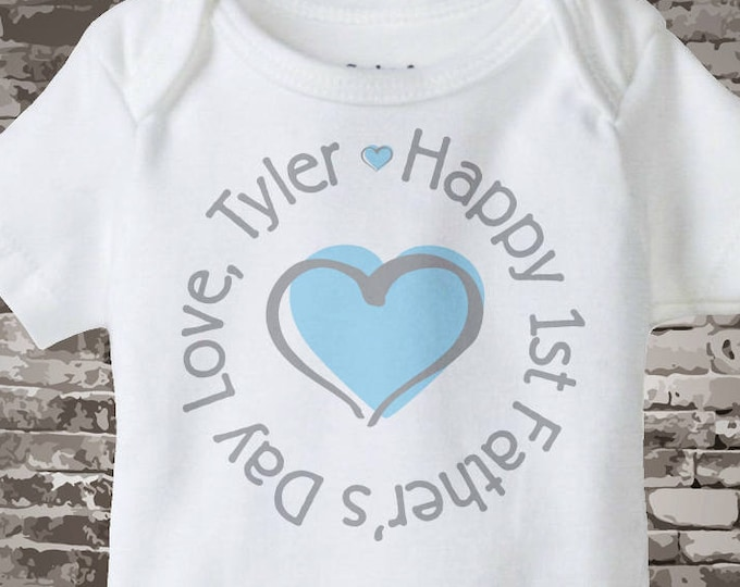 Boys Personalized Happy First Father's Day, New Dad Gift, 1st Fathers Day with Blue Heart Tee Shirt or Onesie 05102012d