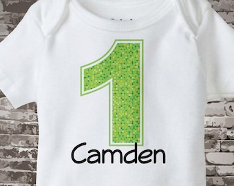 First Birthday Onesie, Lime Green Number 1 1st Birthday Shirt, Personalized Boys Birthday Onesie, Tee or Infant Onesie for kids 03232012a