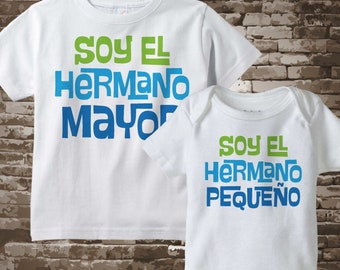 Set of Two tee shirt and Onesie I'm the Big Brother and I'm the Little Brother set in Spanish Hermano Mayor Hermano pequeño 04302018d