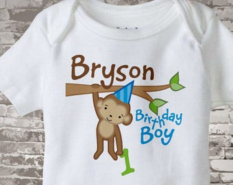 First Monkey Birthday Onesie, Personalized Birthday Boy Monkey Shirt or Onesie any age 12312013b1z