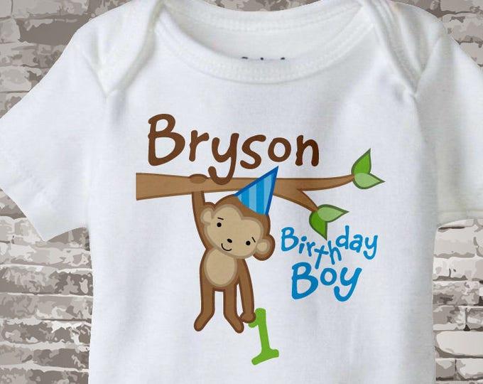 First Monkey Birthday Onesie, Personalized Birthday Boy Monkey Shirt or Onesie any age 12312013b1