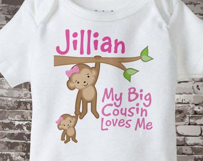 Personalized My Big Cousin Loves Me Onesie or Tee Shirt with cute little monkeys 11052013a