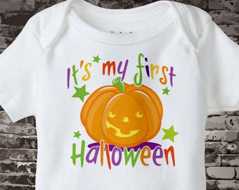 My First Halloween Onesie or T-shirt with cute pumpkin and colorful letters 100% cotton 09152010a