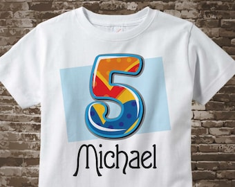 Five Year Old Boy's Shirt with Name, Fifth Birthday Shirt, Fancy Number 5th Birthday t-shirt, Personalized Birthday tshirt 12292017b
