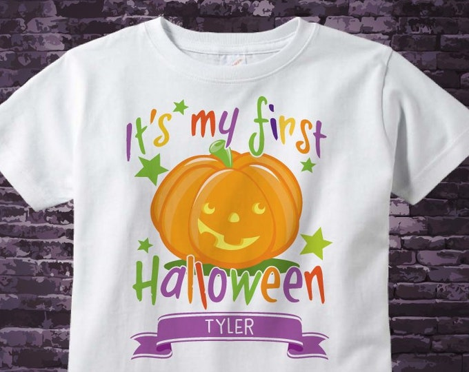 First Halloween shirt with cute smiling pumpkin jack-o-lantern, Personalized Baby's first halloween outfit top | 10082018b