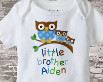 Personalized Little Brother Onesie or Tee Shirt with three brother owls on a branch 02132014a1