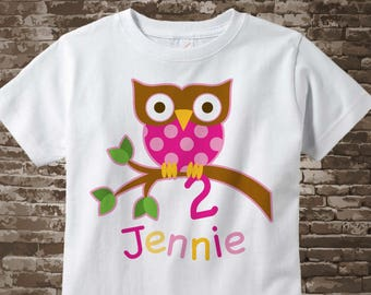 2 Year Old Owl Shirt, Pink Girl's Owl Age Shirt Personalized with Child's Name and age tshirt 12042017az