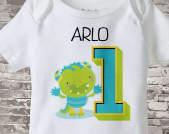 First Birthday Outfit, Baby Boy Outfit, Personalized birthday gift, First Birthday shirt, 1st Birthday Onesie, Monster Birthday 10192015a