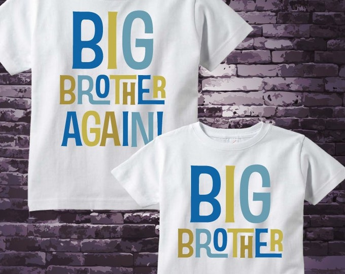 Matching set of Two - Sibling Big Brother Again and Big Brother Shirts - Pregnancy Announcement - Price is for both items 11142018a