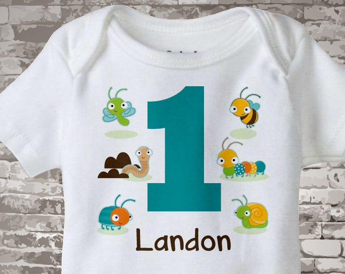 Boy's One Year Old Bug Birthday Shirt or Onesie with Name, 1st Birthday Shirt, Personalized Bug Birthday Theme 09012014c