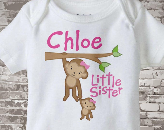Little Sister onesie, Little Sister Onsie, Personalized Little Sister Monkey Tee Shirt or Onesie - Little Sister Outfit Gift 01292014d