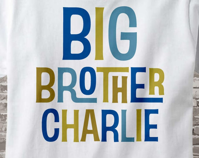 Big Brother Shirt or Onesie - Personalized Big Brother Shirt - Boy's Big Brother Announcement t-shirt with name 12172013b