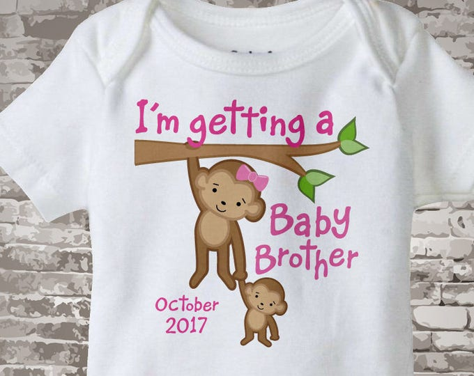 Personalized I'm getting a Baby Brother, Girls Tee Onesie or shirt with Due Date of Baby Brother 03172014b