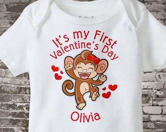 Girl's First Valentine's Day Onesie Bodysuit, Personalized Short or Long Sleeve 01252016c