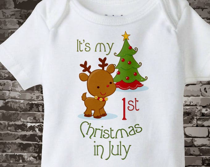 It's My First Christmas In July Onesie Bodysuit or T-shirt with Reindeer and Christmas Tree 06122017b
