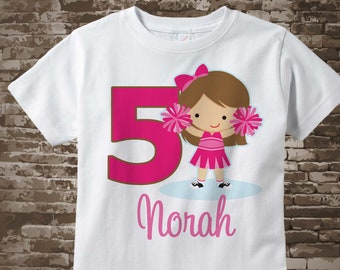 Cheerleader Fifth Birthday Shirt, Pink 5th Birthday Shirt, Can be Any Age Personalized Girls Birthday Shirt Pink Age and Name 03132018a