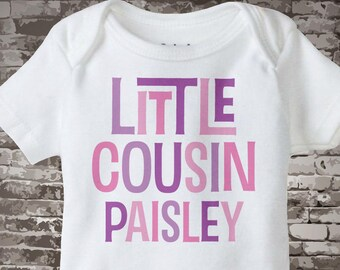 Little Cousin Shirt or Onesie, Personalized Pink and Purple Text, Infant, Toddler or Youth sizes t-shirt 08192014d