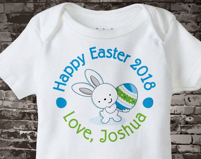 Baby Easter Outfit Bodysuit, Personalized Easter Shirt or Onesie, Easter Bunny and Egg Shirt for Toddlers and Kids - Easter Outfit 04032014g