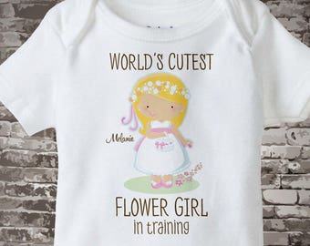 Flower Girl Gift - Flower Girl Shirt or Onesie Bodysuit, Personalized Flower girl in training Bodysuit - Flower Girl Onesie Gift 01272016e