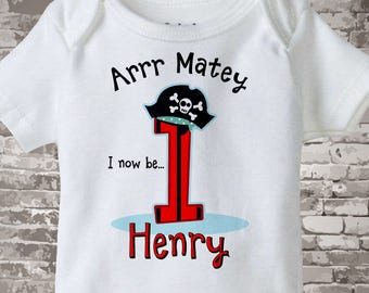 One Year Old's Pirate Birthday Onesie Personalized Pirate Birthday Shirt or Onesie Bodysuit with Your Child's Name and Age 12222014a
