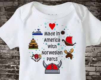 852f5666b Made in America with Norwegian Parts Onesie Bodysuit or T-shirt with Norway  landmarks and art Scandinavian Coming Home Outfit top 10052017b