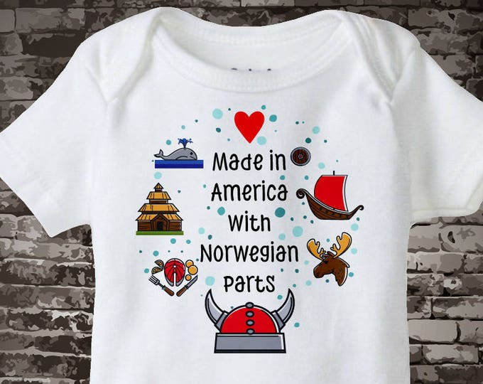Made in America with Norwegian Parts Onesie Bodysuit or T-shirt with Norway landmarks and art Scandinavian Coming Home Outfit top 10052017b