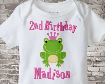 2nd Birthday Onesie, Second Birthday Frog Princess Shirt, Personalized Frog Princess 2 year old Birthday Girl Tee or Onesie 04092014e