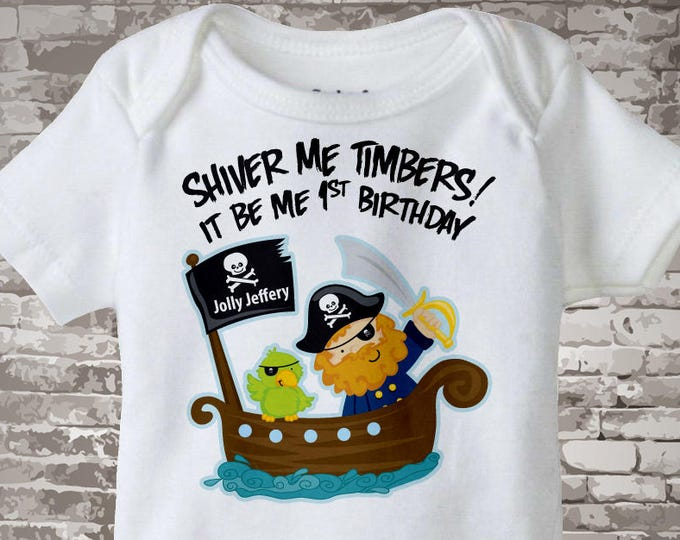 Personalized Pirate First Birthday Shirt or Onesie with Your Child's Name and Age 01082012a1z